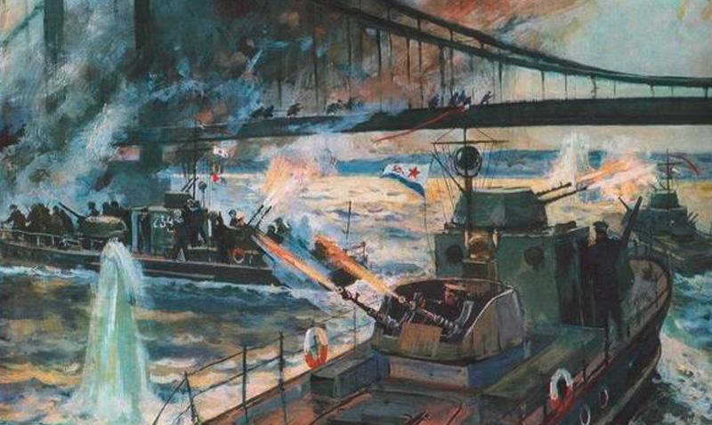 Захват бронекатерами моста Рейхсбрюкке в Вене