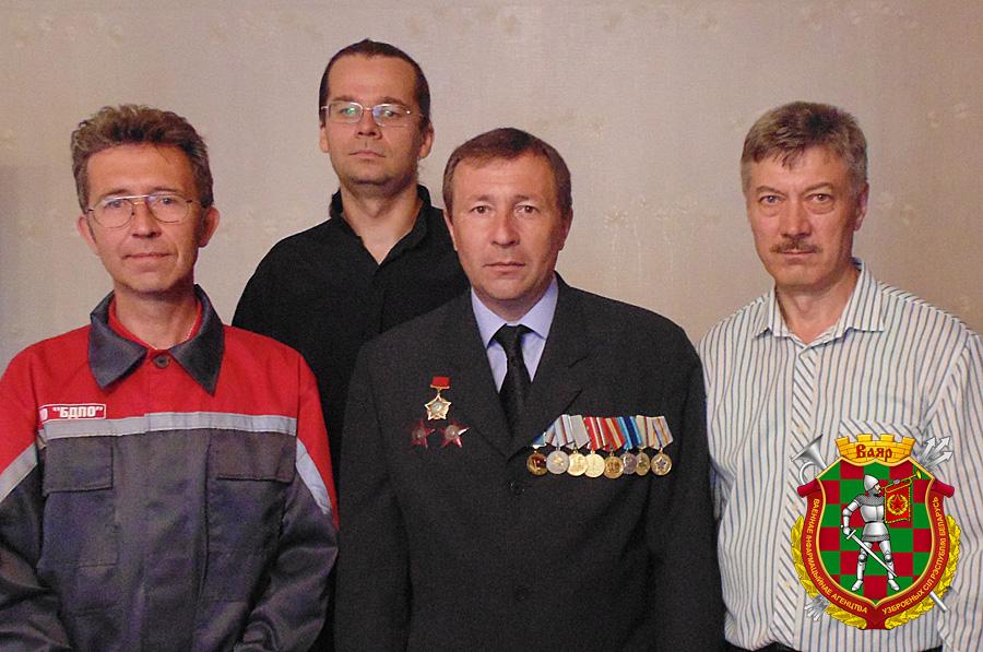 Слева направо: Александр Заднеулицын, Максим Фролов, воин-«афганец» Владимир Луданов, Василий Костенко