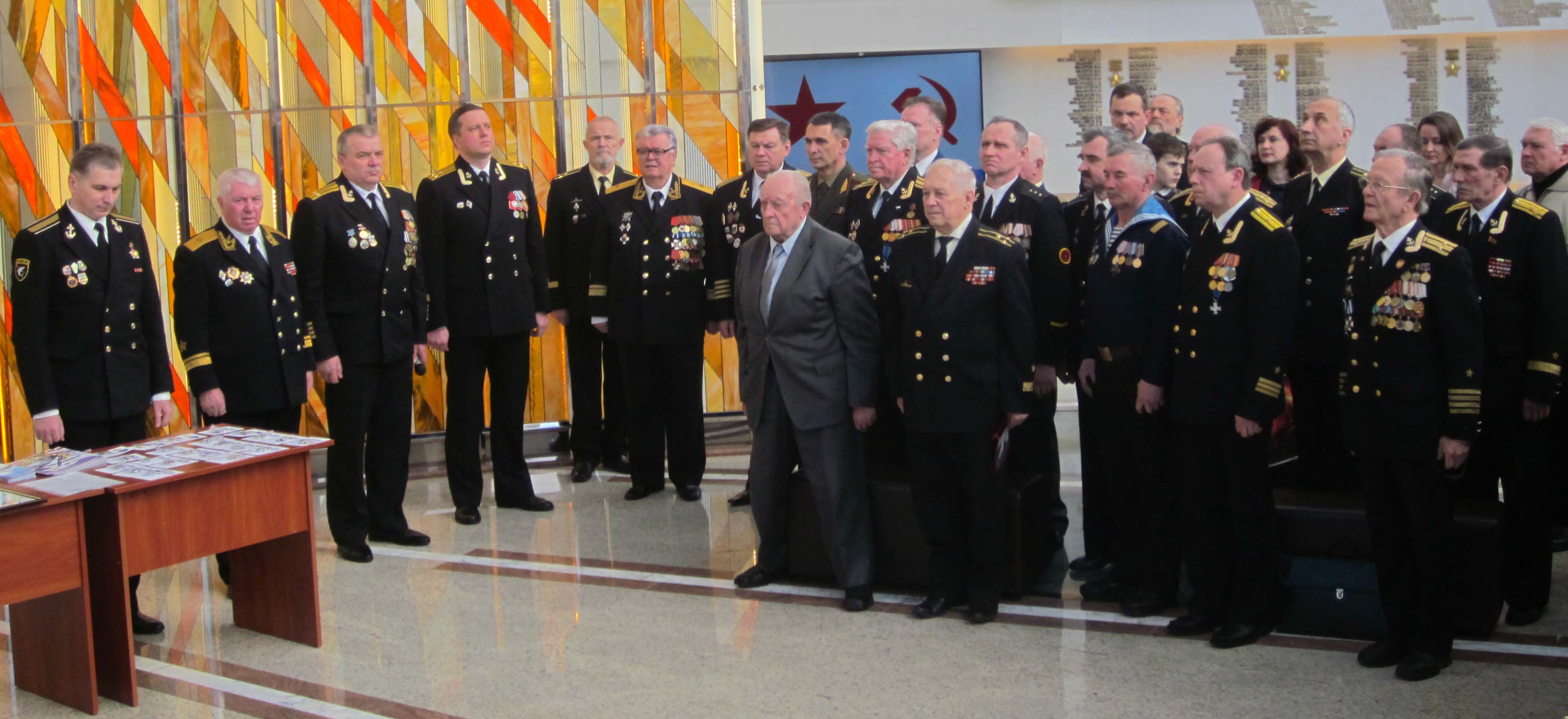 Члены Белорусского союза военных моряков в Зале Славы провели торжественную церемонию