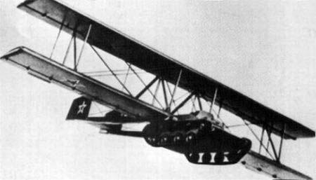 танк-планер А-40 во время испытательного полета
